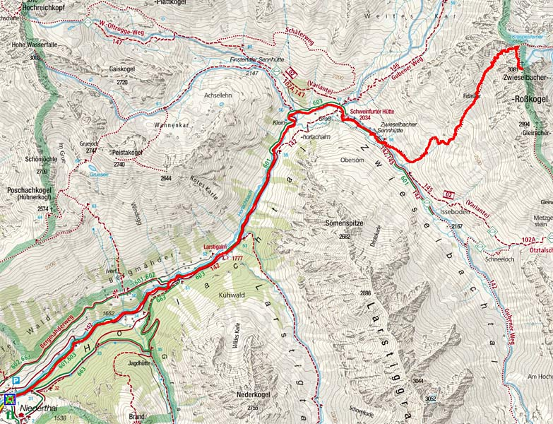 Zwieselbacher Rosskogel (3081 m) von Niederthai