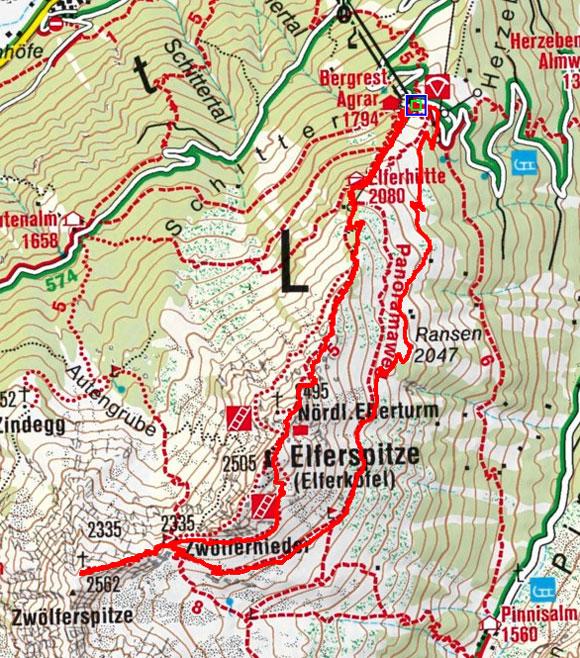 Zwölferspitze (2495 m) vom Elfer oder Elferhütte