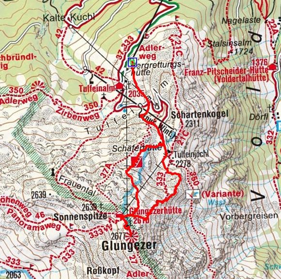 Glungezerhütte-Glungezer (2610/2677 m) von Tulfein