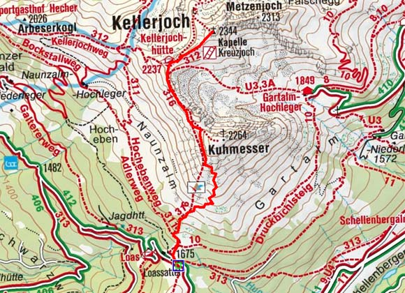 Kellerjoch (2237 m) über den Naunzstand