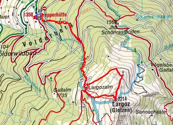 Largoz (2214 m) vom Parkplatz Krepperhütte