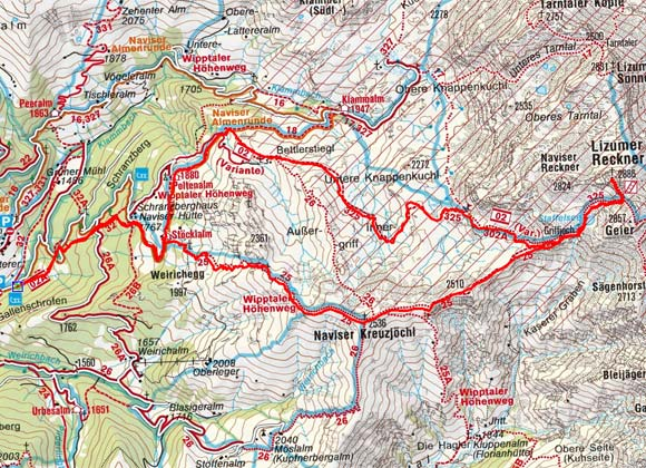 Lizumer Reckner (2886 m) von Navis