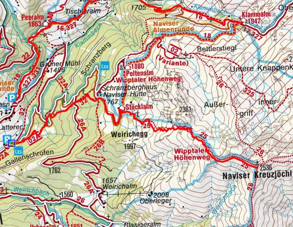 Naviser Kreuzjöchl (2536 m) vom Parkplatz Schranzberg