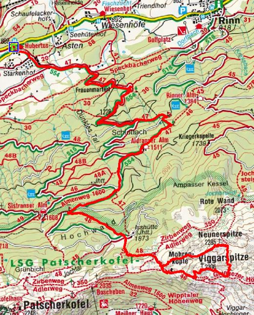 Viggarspitze - Neunerspitze (2306/2285 m) über die Aldranser Alm