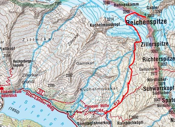 Reichenspitze (3303 m) von der Plauener Hütte
