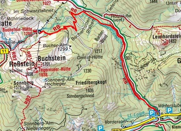 Buchstein Hütte (1260 m) vom Parkplatz Winterstube