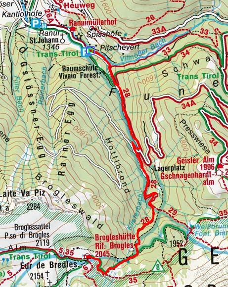 Brogles Hütte (2045 m) aus dem Villnösser Tal