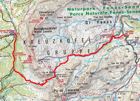 Faneshütte (2060 m) über den Lavarellasattel