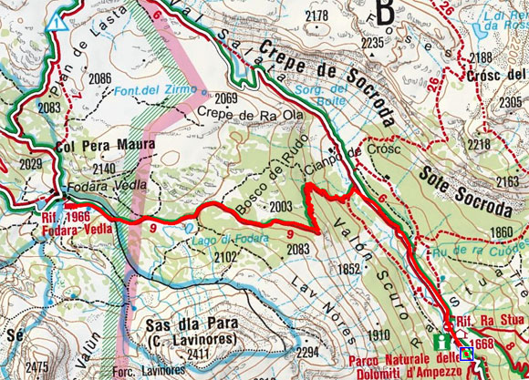 Fodara Vedla Hütte (1980 m) vom Rifugio Ra Stua