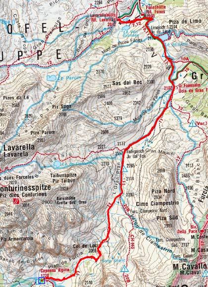 Lavarellahütte (2050 m) von der Capanna Alpina