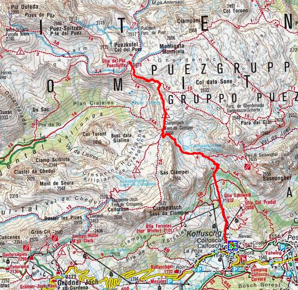 Puezhütte (2475 m) von Kolfuschg