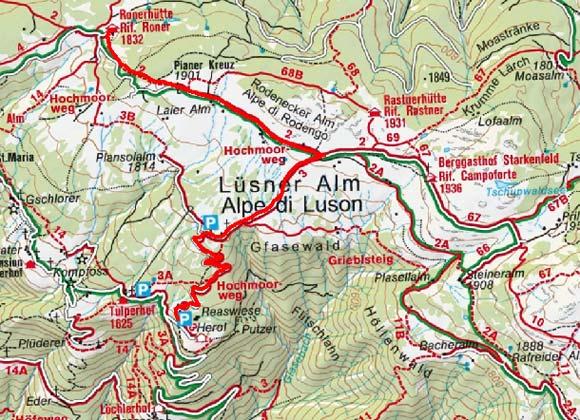 Roner Alm (1832 m) von Lüsen Berg-Herol