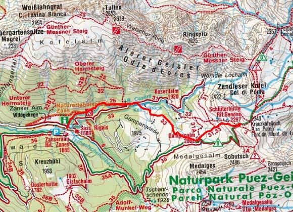Schlüterhütte  (2306 m) von der Zanser Alm