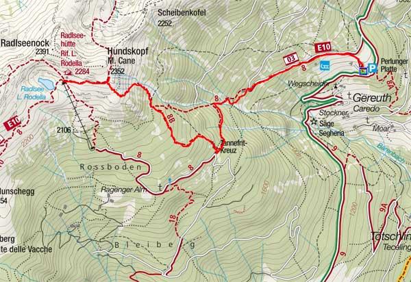 Radlseehütte (2284 m) vom Perlungerhof