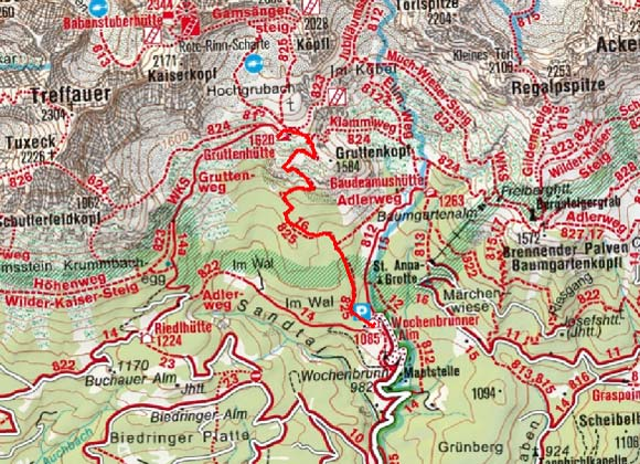 Gruttenhütte (1619 m) von der Wochenbrunneralm