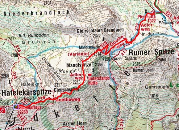 Pfeishütte (1922 m) über den Goetheweg