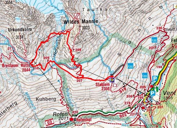 Breslauer Hütte (2844 m) über den Rofenkarsteig