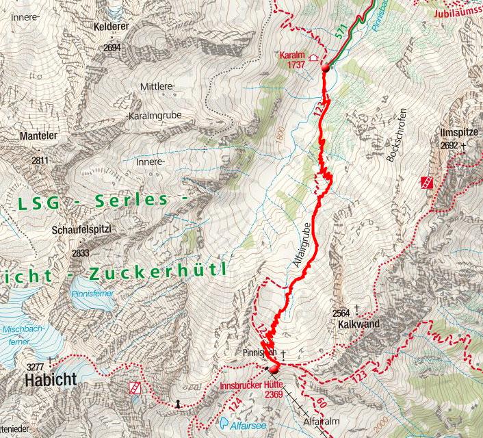 Innsbrucker Hütte, 2370m – Wanderung aus dem Pinnistal