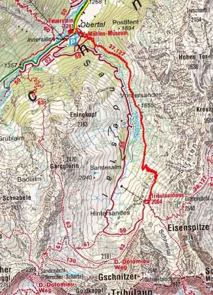 Tribulaunhütte (2064 m) vom Gasthof Feuerstein
