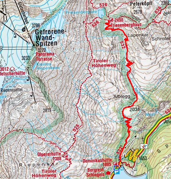 Friesenberghaus (2498 m) vom Schlegeisspeicher