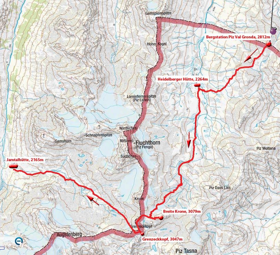 Tag 1: Ischgl – Heidelberger Hütte – Breite Krone – Grenzeckkopf - Jamtalhütte
