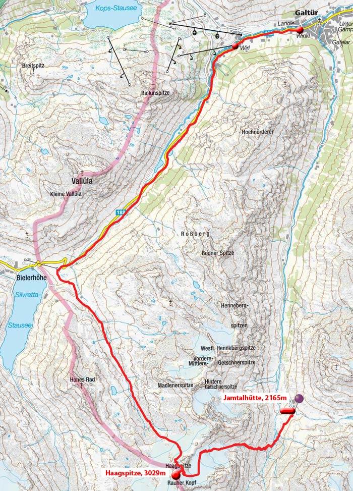 Tag 2: Jamtalhütte – Haagspitze – Bieltal – Kleinvermunt - Wirl