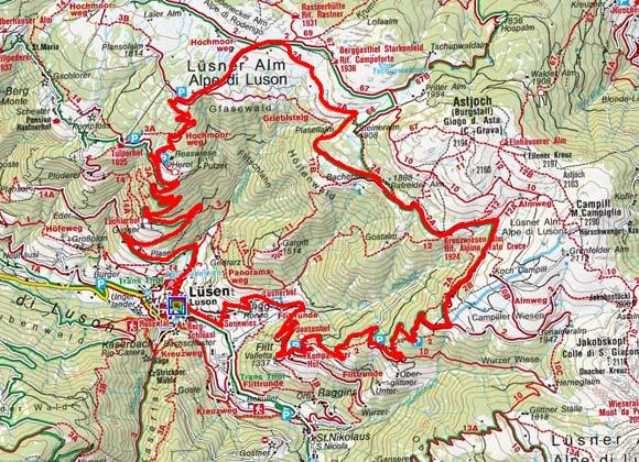 Lüsen - Lüsen Berg - Kreuzwiesenalm