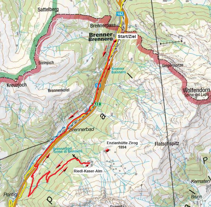 Riedl-Kaser-Alm vom Brenner Ort