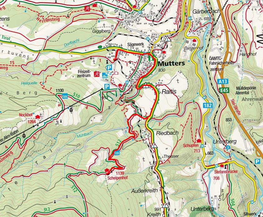 Scheipenhof - Mountainbike Tour von Mutters