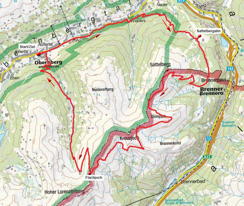 Brenner-Grenzkamm-Runde mit Abfahrt durch das Fradertal