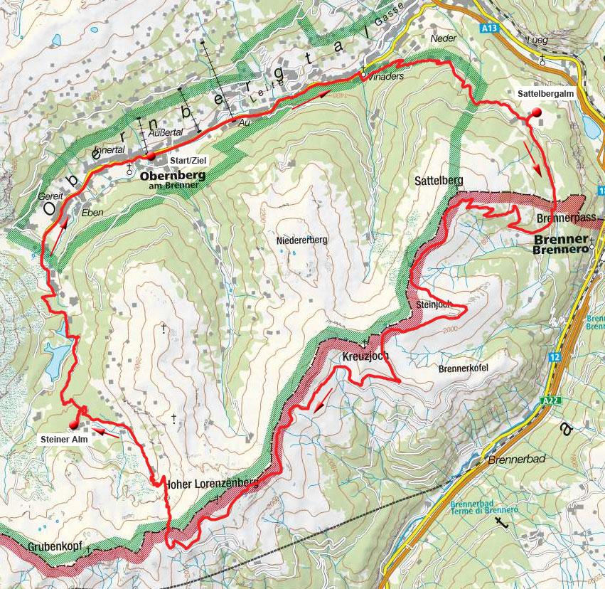 Brenner-Grenzkamm-Runde mit Abfahrt Sandesjöchl