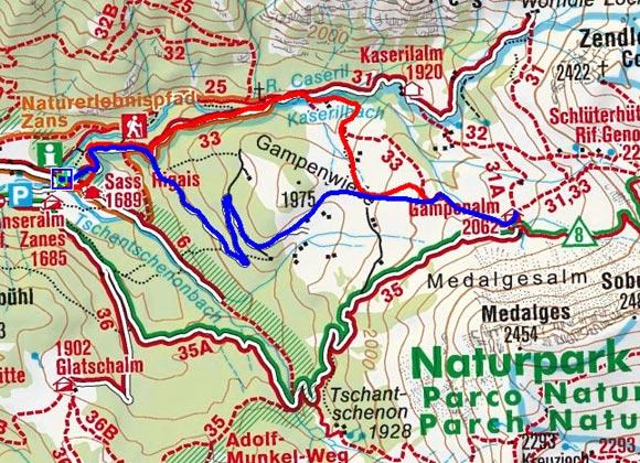 Gampenalm (Zans) - Naturrodelbahn
