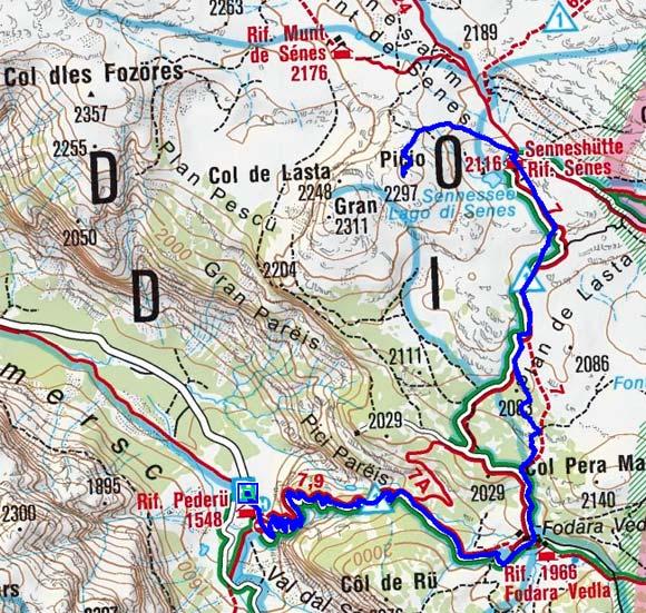Col de Lasta (2297 m) und Senneshütte (2126 m) vom Berggasthof Pederü