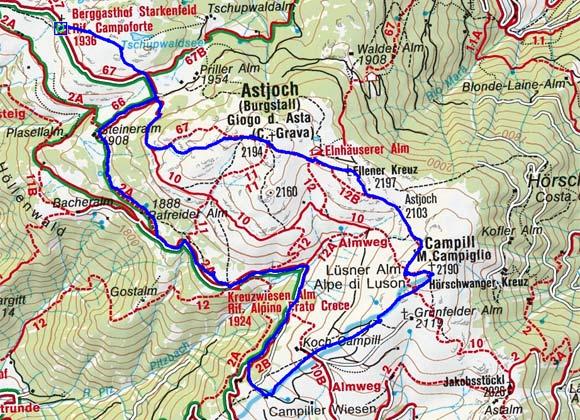 Starkenfeldhütte - Kreuzwiese - Campillberg - Astjoch