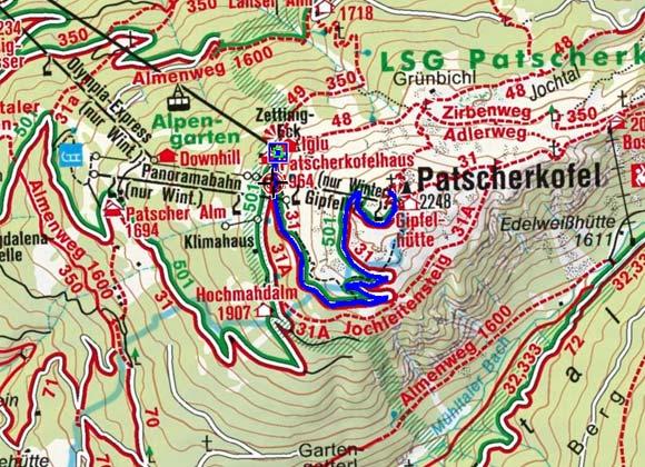 Patscherkofel-Gipfel (2248 m) von der Bergstation der Patscherkofelbahn