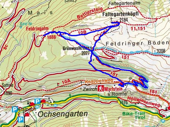 Faltegartenköpfl - Feldringalm Rundwanderung