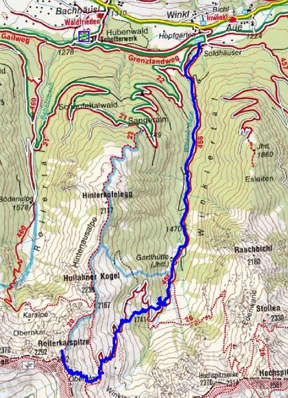 Reiterkarspitze (2422 m) von Obertilliach/Winkl