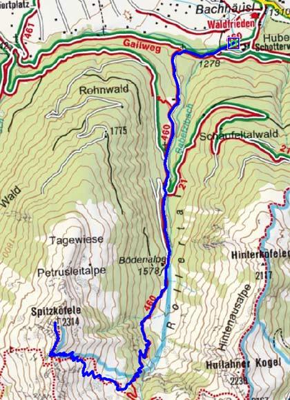 Spitzköfele (2314 m) von Obertilliach