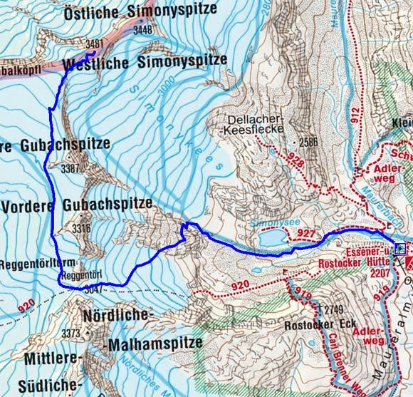 Westliche Simonyspitze (3481 m) von der Essener Rostocker Hütte
