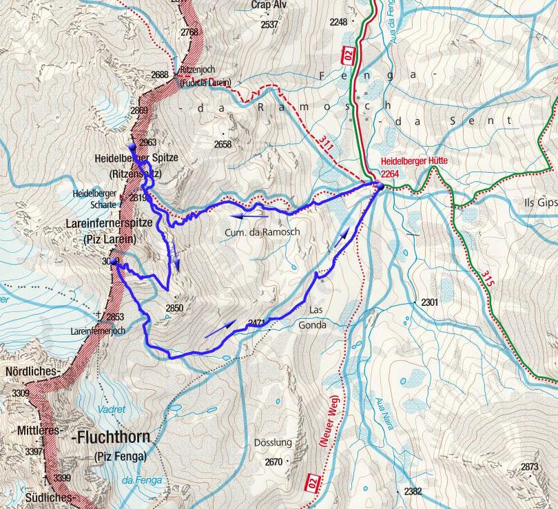 Heidelberger Spitze & Lareinfernerspitze Rundtour von der Heidelberger Hütte