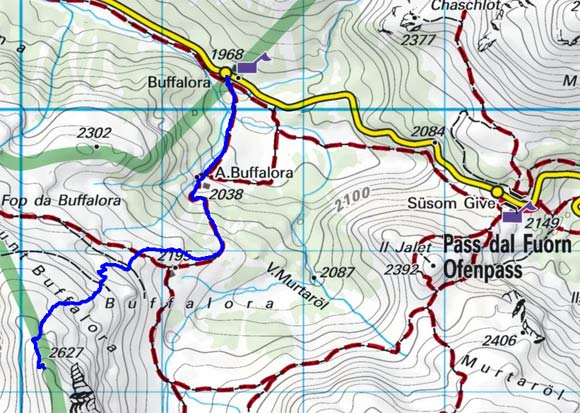Munt Buffalora (2630 m) vom Gasthof Buffalora