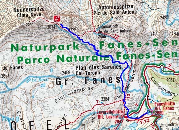 Neunerspitze (3055 m) von der Faneshütte