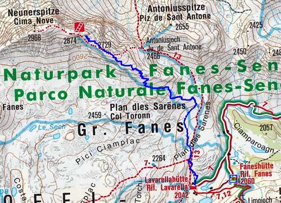 Neunerspitze-Wintergipfel (2874 m) von der Lavarellahütte