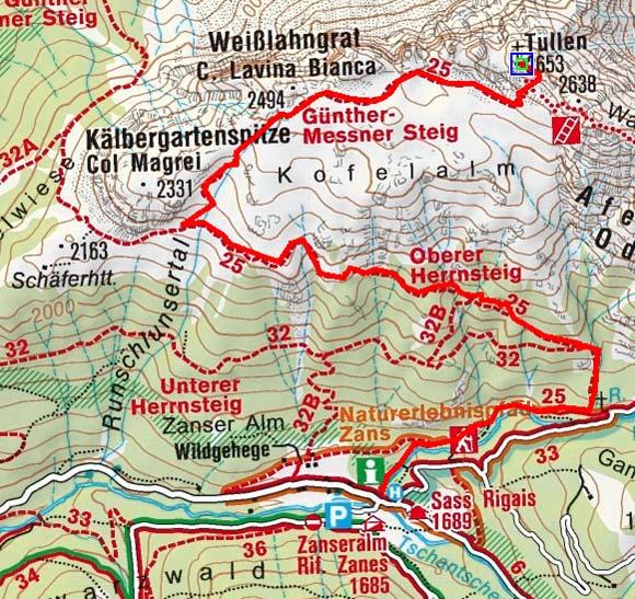 Tullen (2653 m) von der Zanser Alm