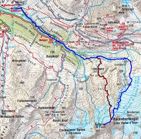 Äußerer Bärenbartkogel (3471 m) über den Bärenbartferner