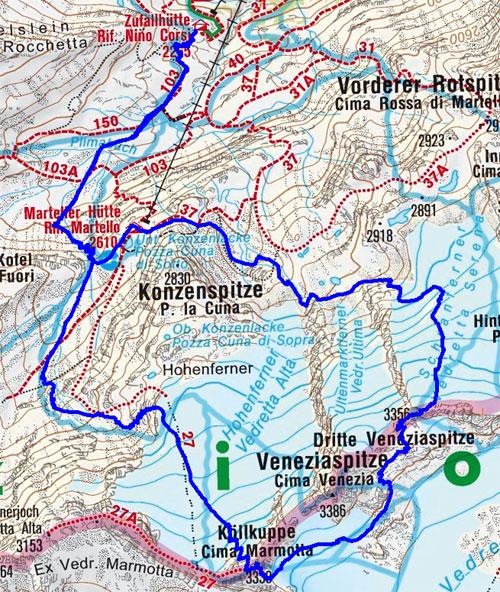Cima Marmotta (Köllkuppe)  – 3. Veneziaspitze Rundtour