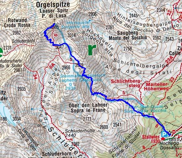 Laaser Spitze (3305 m) vom Berggasthof Stallwies