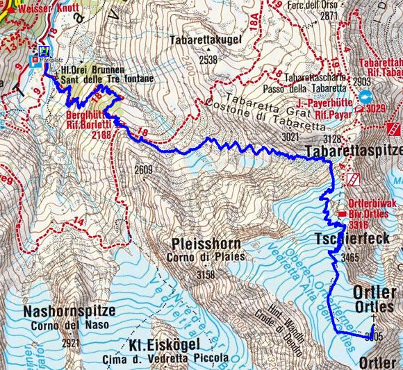 Ortler (3905 m) von Heilig Drei Brunnen