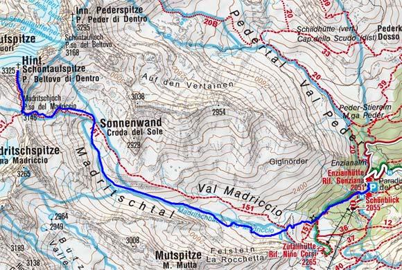 Hintere Schöntaufspitze (3324 m) aus dem Martelltal