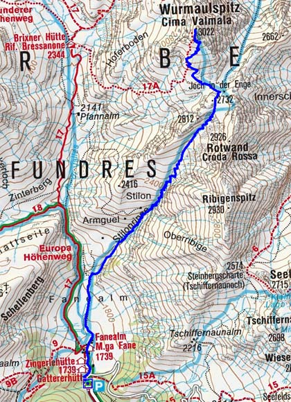 Wurmaulspitze (3022 m) von der Fanealm